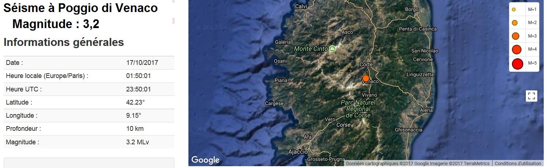 Séisme au centre de la Corse
